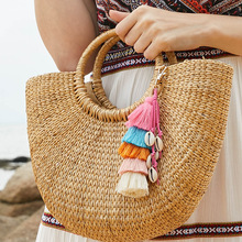 Fashion Handmade Keychain Shell Tassel Pendant Pompom Key Chains Bohemian Accessories For Women Bags Colorful Trinket