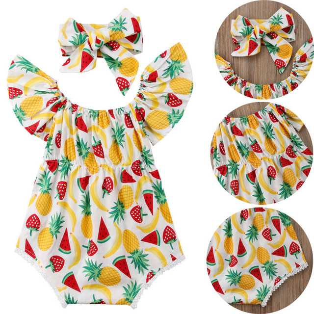 Newborn Toddler Baby Girls clothes off shoulder pineapple print short sleeve Bodysuit Bow Headband 2pc kids Cotton Outfits