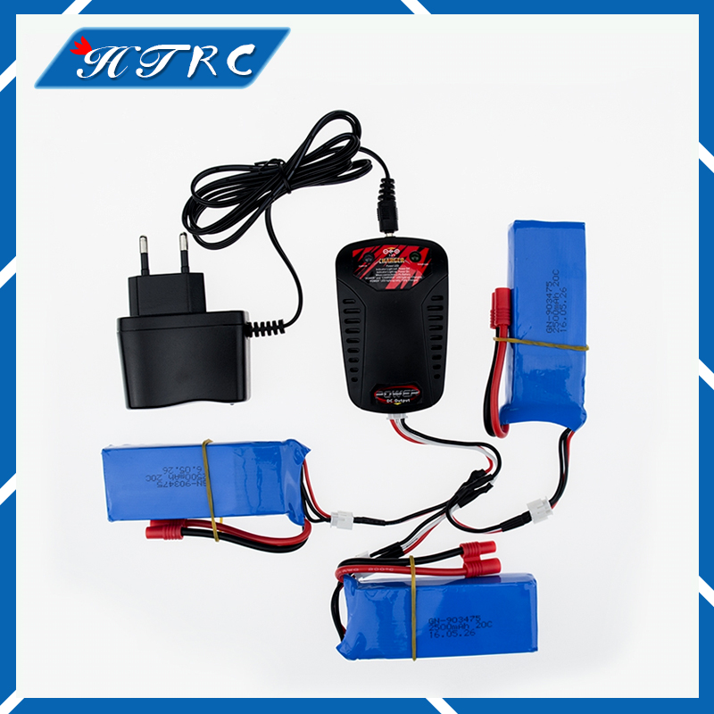 EU plug charger 3in1 cable 7.4V 2500mah 2S RC Drone Syma X8C Lipo Battery For Wltoys V262 X8W X8C X8 Quadcopter Helicopter 5pcs jjrc h11d h11c hq898 quadcopter drone rc lipo battery 3 7v 1100mah and charger plug cable