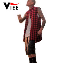 Summer New arrival Hip hop tyga mens red font b Tartan b font plaid shirts fashion