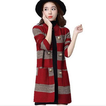 New Fashion Loose Big Yards Women Spring Autumn Knitted Sweater Coat Standing Collar Long Sleeve High Quality Stripe CoatQ369