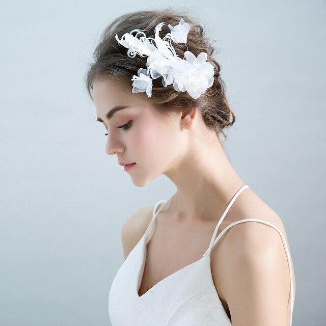 Скромные Пряжа белый цветок головной убор волос Украшения принцессы Свадебные Заколки для волос цветочный Обувь для девочек партия заколки подарок