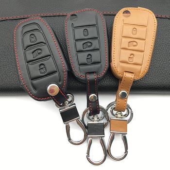 3 przyciski samochód kluczyk zabezpieczający Case dla Peugeot 3008 308 508 408 2008 RCZ CHAVE dla Citroen C4L C5 C3 kaktus C6 C8 pilot zdalnego sterowania tanie i dobre opinie VOMRCA Górna Warstwa Skóry Genuine Leather + Delicate plating keychain black Pure color business and fashion male and female