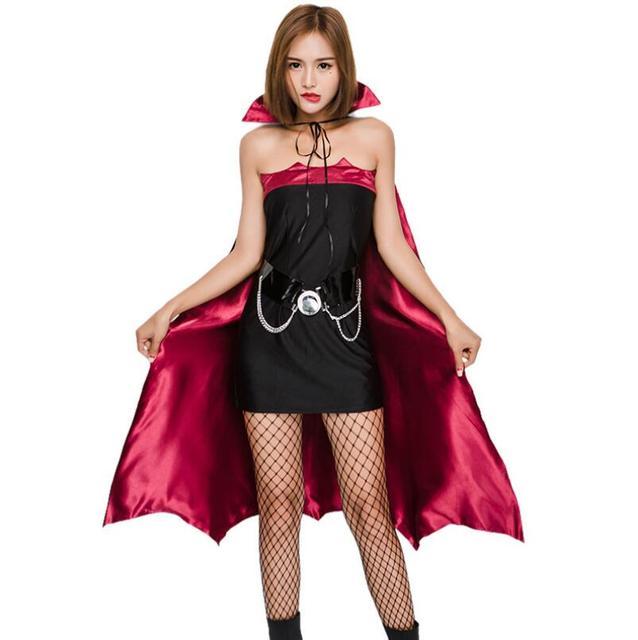 Halloween Vampire Cosplay Costumes Women Black Red Bat Suit Red