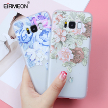 EIRMEON Case For Samsung Galaxy S7 Edge S8 S9 Plus A3 A5 A7 2016 2017 A520 A6 A8 2018 3D Relief Flower Back Covers