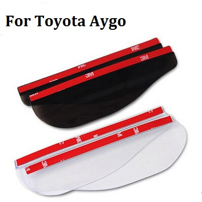 a pair Rear View Mirror Rainproof Blade Flexible PVC Car rain eyebrow Rain Cover styling stickers for Toyota Aygo car styling sncn inflexible acrylic rearview mirror rain gear shield rear view mirror anti rain cover for bmw x5 e70 2007 2008 2011 2012