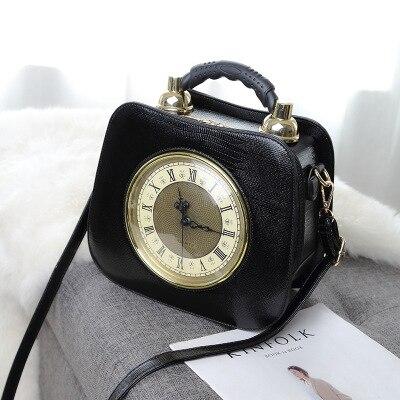 Vintage femmes marron horloge sacs à bandoulière unique sacs à main en cuir noir blanc solide rabat sacs à bandoulière