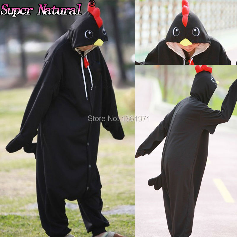 HKSNG Animal Winter Warm Women  White Black Rooster Chicken Kigurumi Pajamas Onesies Adult Party Cosplay Hooded Sleepwear