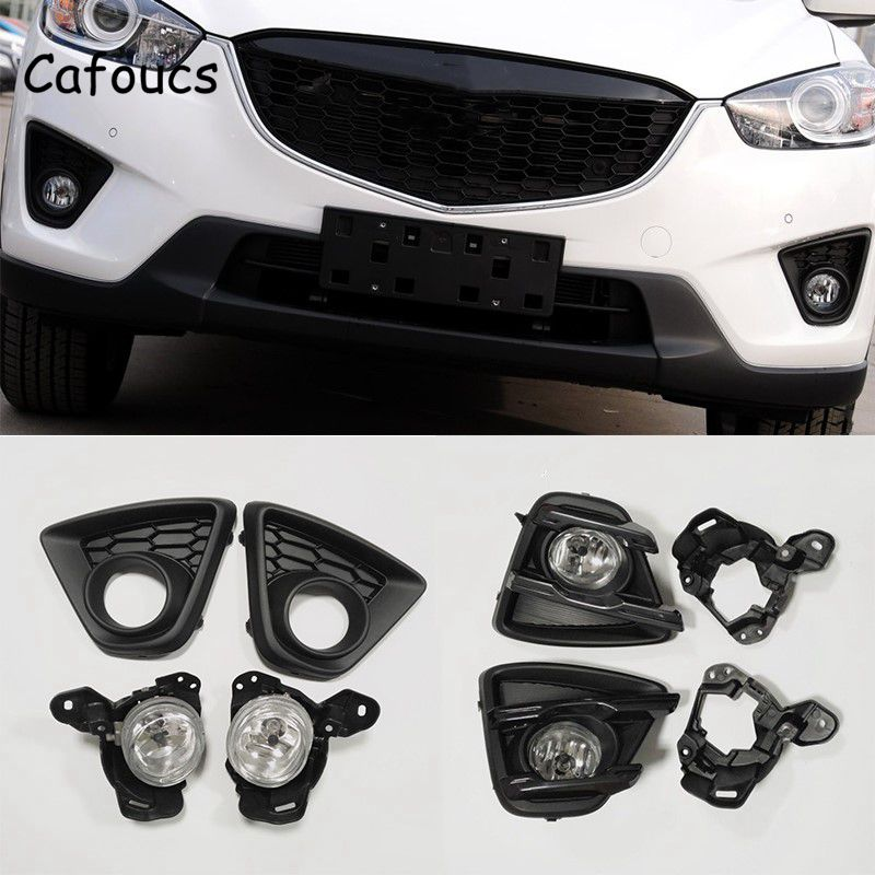 Cafoucs For Mazda CX 5 2013 2015 Front Bumper Fog Lights Kit With Lamp Hood And