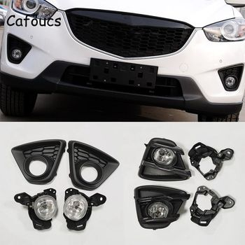 Cafoucs For Mazda CX-5 2013-2015 Front Bumper Fog Lights Kit With Lamp Hood And Bulbs