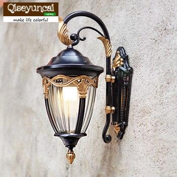 Qiseyuncai Amerykańska Willa Lampy Ogrodowe Na Zewnątrz Wodoodporne ściany Na Tarasie Na Dziedzińcu Oraz W ściany Brama Balkon Lampa ścienna Zewnętrzna LED
