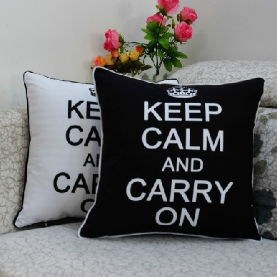 45*45 cm Vintage Fashion Back White Keep Calm and Carry On Printed