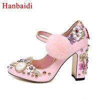 Сладкий Розовые женские туфли лодочки заклепками высокий толстый каблук Мэри Джейн цветами и кристаллами Свадебная обувь для дам clsaaic шпил