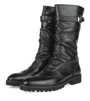 Модные черные зимние мужские ботинки в британском стиле, высокие ботинки из натуральной кожи, мужские мотоботы с пряжкой