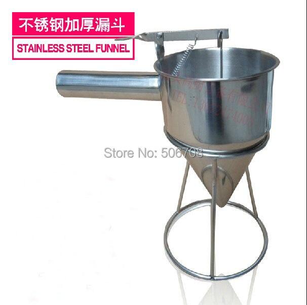 Stainless steel batter dispenser waffle maker dispenser takoyaki funnel takoyaki tools  egg liquid batter dispenser waffle hopper takoyaki ice pop making tool distributor full stainless steel