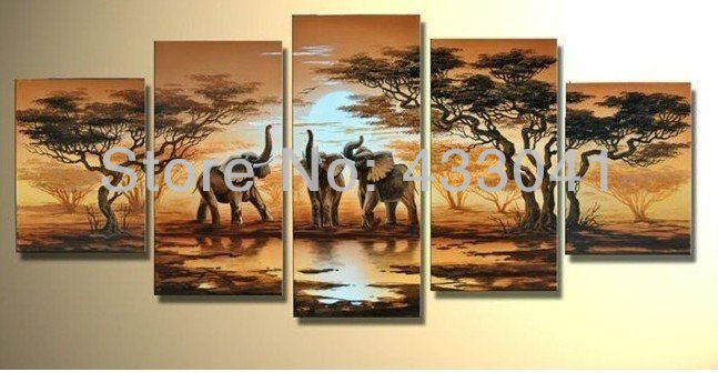 Hand painted african elephants family savanna sunset for African sunset wall mural