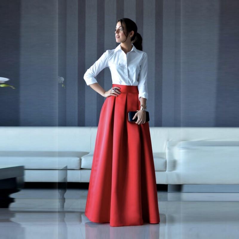 Paris Fashion Long Skirts Women Red Pleated Skirt Women Clothing Jupe Femme Maxi Skirt Faldas