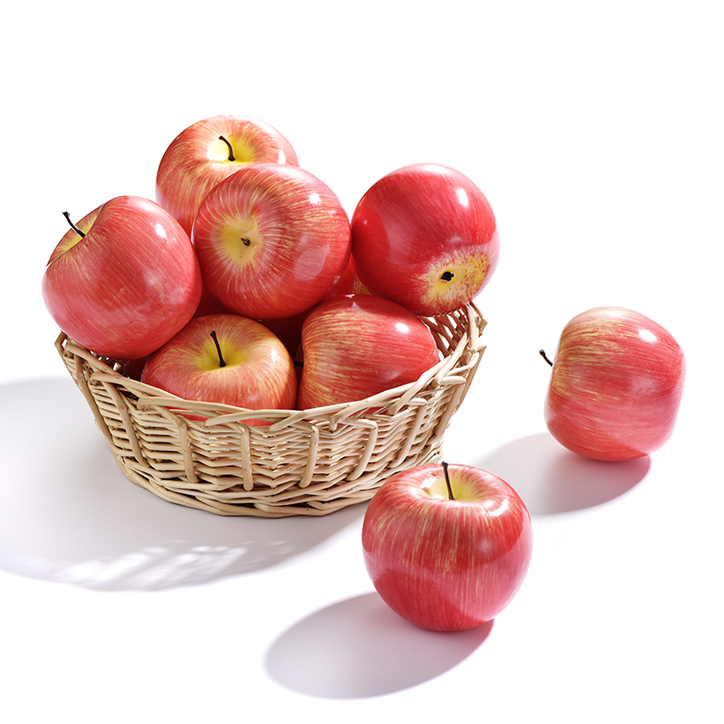 10/20/30 Pc Artificial Apples Plastic Fruit Red Apple For Wedding Decoration EVA Plastic Shop Display Fake Fruits Aids Fruits