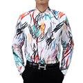 2016 otoño nuevo de alta calidad Pintada de rayas Para Hombre camisas de manga larga moda marca Casual Shirt Slim Fit Sociales más Camisa de los hombres