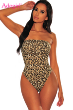 Adogirl Leopard Print Strapless Bodysuit Thong Bottom Snap Button Women Sexy Romper Night Club Party Outfits Fashion Tops