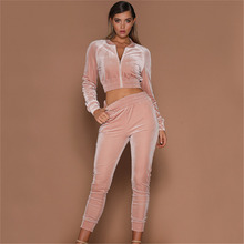 Autumn Women Tracksuit Sets Sexy Velvet Casual O Neck Spring Brand Clothing and Pants Women's Sweatshirt Two Piece Set 2018 New