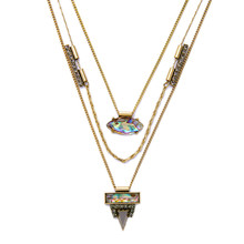 New Design Geometric Statement Necklace Vintage Accessories Alloy Gold Plated Chain Multilayer Necklace