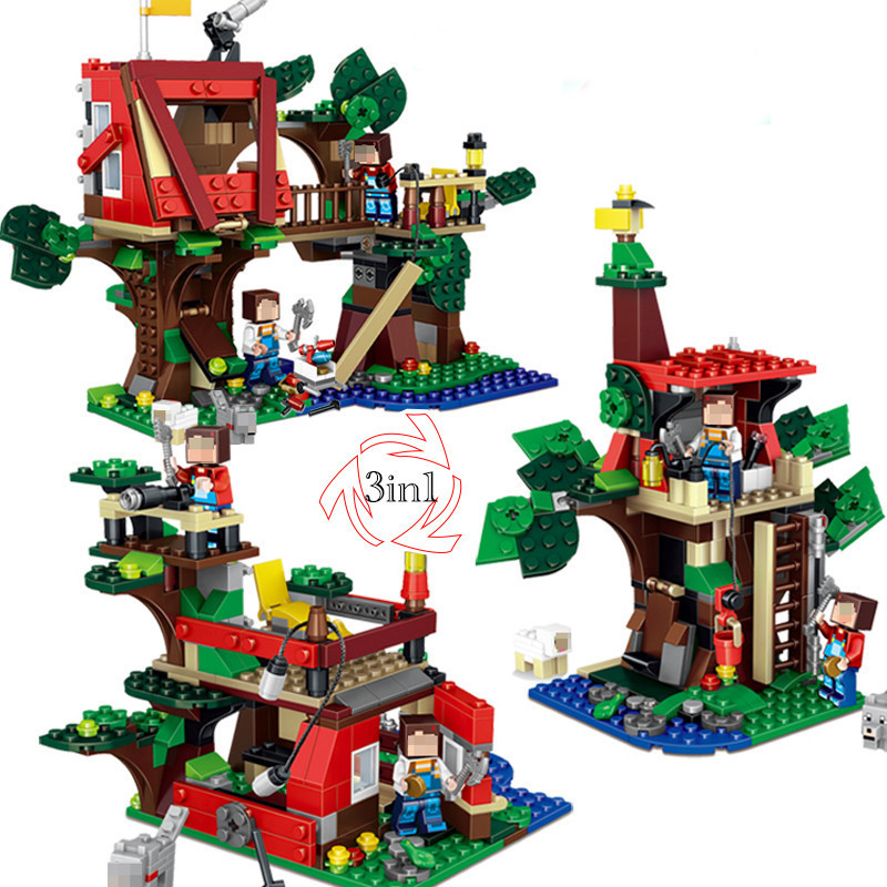 416 Pcs MY World 3 in 1 Tree House Building Blocks Set Brick Action Figure Toys Gift Compatible LegoINGly Minecrafted lepin