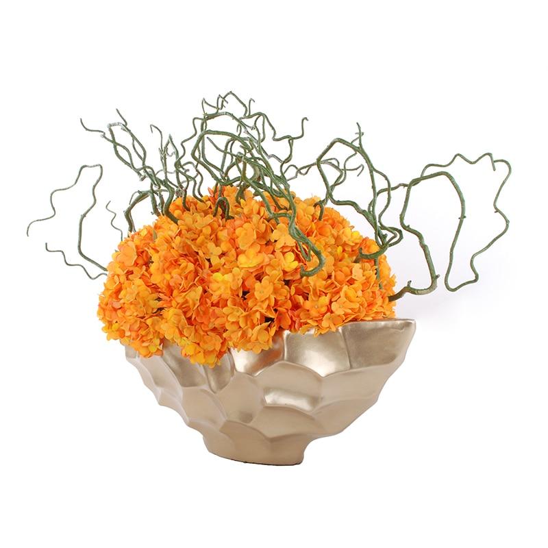 INDIGO- 10db Narancssárga Hortenzia kijelző Virág Otthon - Ünnepi és party kellékek