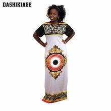 Dashikiage Women African Print O-Neck Slim Fit Bodycon Party Long Dress