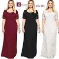 As mulheres Se Vestem Plus Size 6l Longo Maxi Vestidos de Renda 6xl 7xl 8xl 9xl 2016 Ucrânia Elegante Verão Vestido de Festa Robe Longue Femme