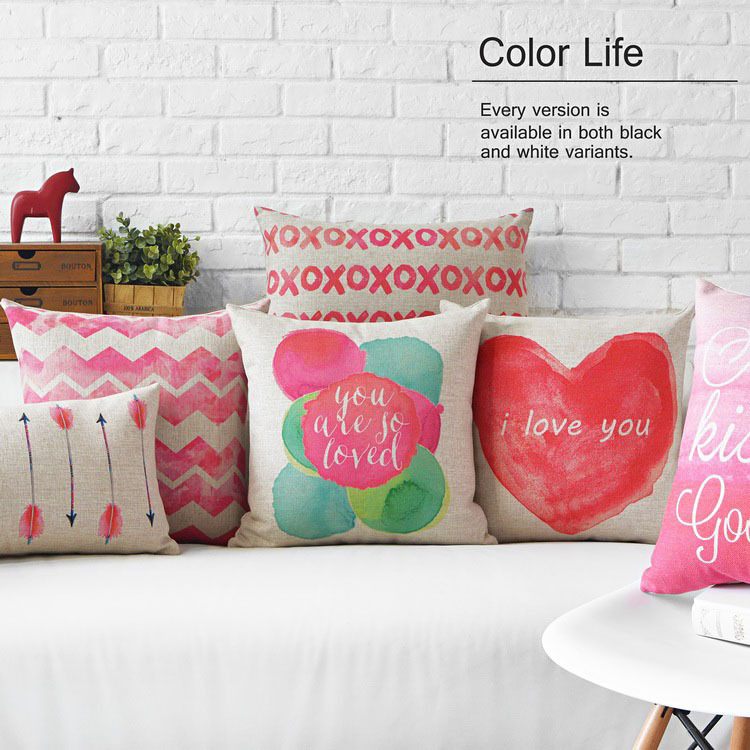 Creative Watercolor Pink Love Pillow  Red Cushion  Couples Gift Linen Pillowcase Sofa Cushions Home Decorative Pillows