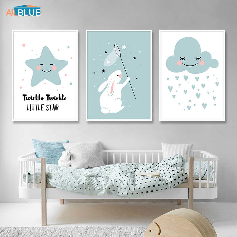 Cute Rabbit Star Cloud Nordic Nursery Cartoon Posters And Prints Kids Wall Art Canvas Painting Wall Pictures For Kids Room Decor