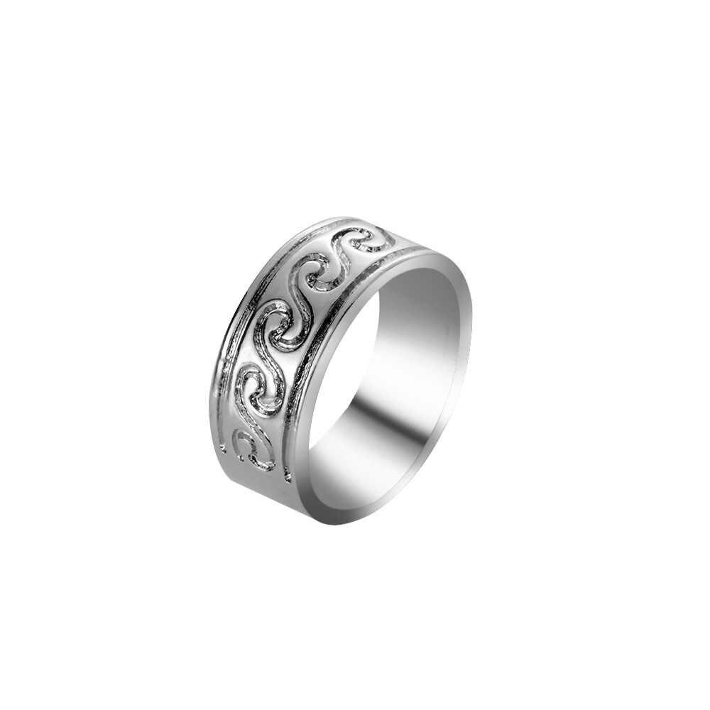 2018 Terbaru 1 PC Gelombang Cincin Stainless Steel Knuckle Laut Kawat Bungkus Surf Cincin untuk Wanita Perhiasan Aksesoris