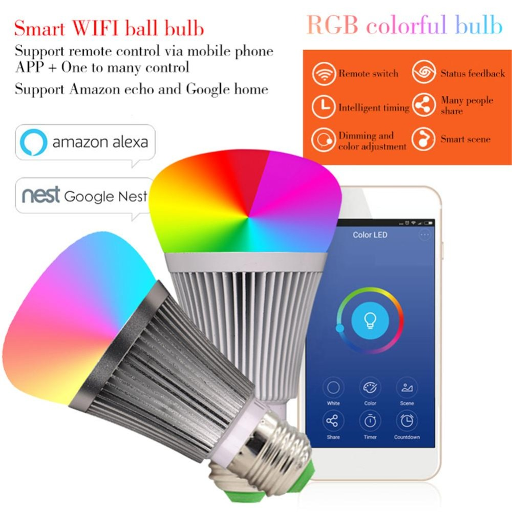 Kaigelin Smart Light APP Wifi LED Bulb LED Dimmer Wifi Smart Light Bulb RGB E27 B22 Light Color Changing Light Bulb Flower Bulbs smart bulb e27 led rgb light wireless music led lamp bluetooth color changing bulb app control android ios smartphone