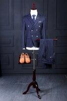 Последние конструкции пальто брюки Темно синие жениха Смокинги для женихов золотой полосой итальянский Стиль двубортный мужские Нарядные