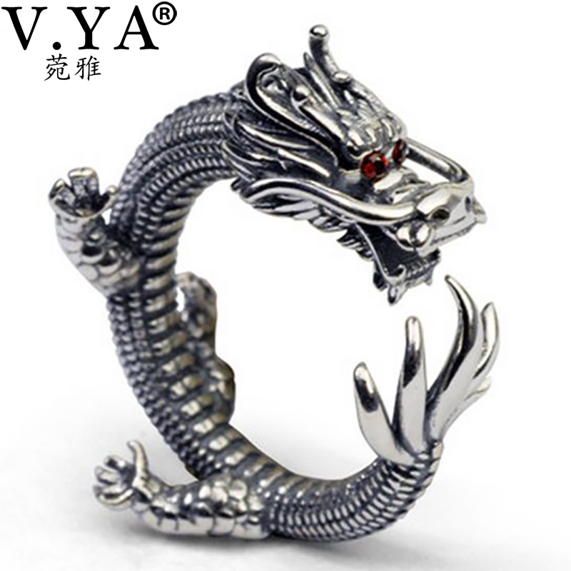 v ya cool thai silver rings rock style solid