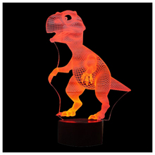 Brand New 3D Lamp Optical Illusion Led Night Light, Amazing 7 Colors Dinosaur Shape Lamps with USB Charge for Home Decor