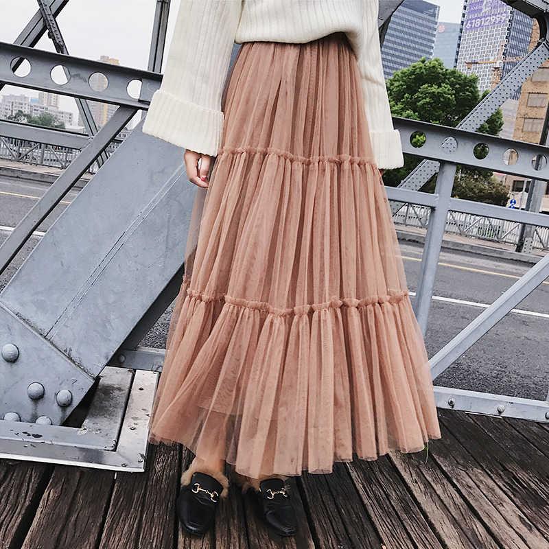 cce64f599d Autumn Women Elegant Black Mesh Tulle Pleated Panelled Long Skirt Sweet  Girl Tutu Skirt Pink Khaki