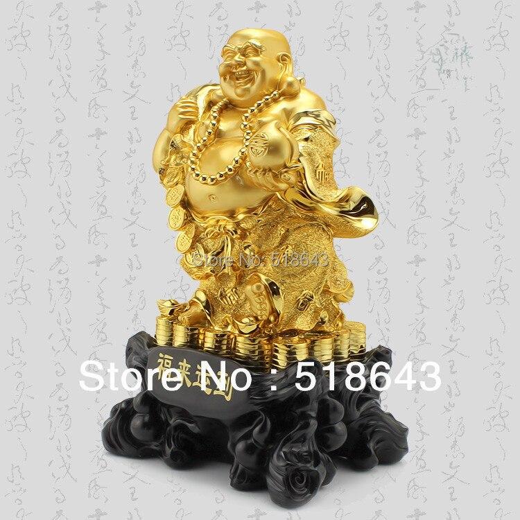 Uśmiechnięte Buddha artykuły wyposażenia wnętrz pozłacane - Wystrój domu - Zdjęcie 3