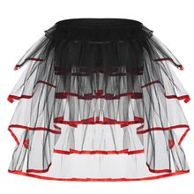 Womens Ballet Dance Tulle Tail Tutu Skirt Contrast Color Satin Trim Layered Ruffle Cake Party Bustle Bubble Underskirt