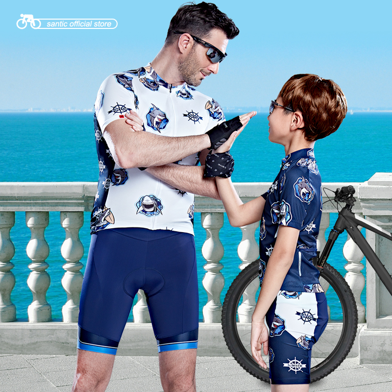 Santic Mens Boys Cycling Padded Short Set Pro-fit Father and Son Riding Dress Cycling with Family S-3XL WM7CT062/64 ploughman s son