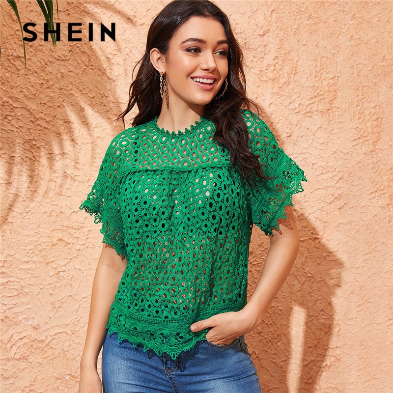 SHEIN Green Keyhole Back Guipure Lace Blouse Without Bra Women Summer Round Neck Sexy Blouse Raglan Short Sleeve Ladies Tops