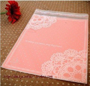 16x20cm Pink Lace Packing bag Self Adhesive Seal Food Packing Bag Snack Bag Party Favor Bag