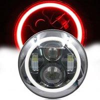مصباح أمامي ليد 7 بوصة بتصميم هالو أحمر للدراجة النارية من ياماها رويال ستار فينت XVZ1300 كشافات DRL مستديرة 7 بوصة لسيارة جيب JK
