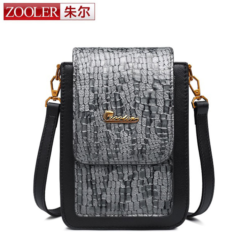 ZOOLER Fashion Genuine Leather Women Small Messenger Bag with High Quality Head Layer of Cowhide Mobile Phone Daily Bag for Lady mobile phone arm bag with double layer pocket design for jogging