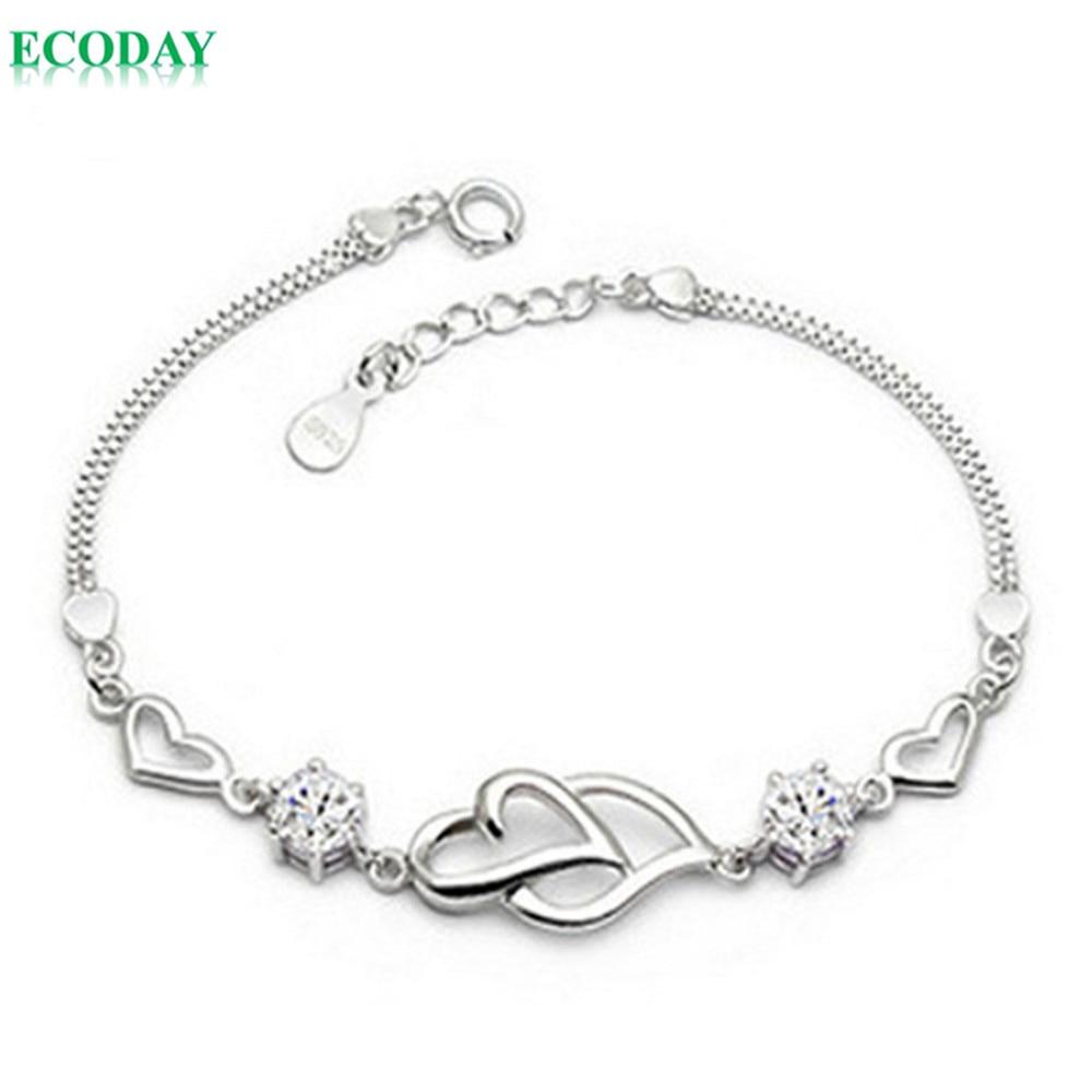 2 Colors Fashion Jewelry Pulseras Silver Bracelet Heart