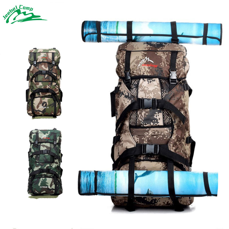 Jeebel 70L Hiking Backpack Large Capacity Outdoor Camping Men Camouflage Waterproof Sport Tactical Military 2018 Travel Bags 2018 new high capacity outdoor camping backpack men s camouflage hiking backpack waterproof sport tactical travel bags s008