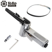 10mm Pneumatic Air Belt Sander (10x330mm) Drawing Machine Polishing Grinding Die-casting Aluminum Tools with 2pcs Sanding Belts недорого