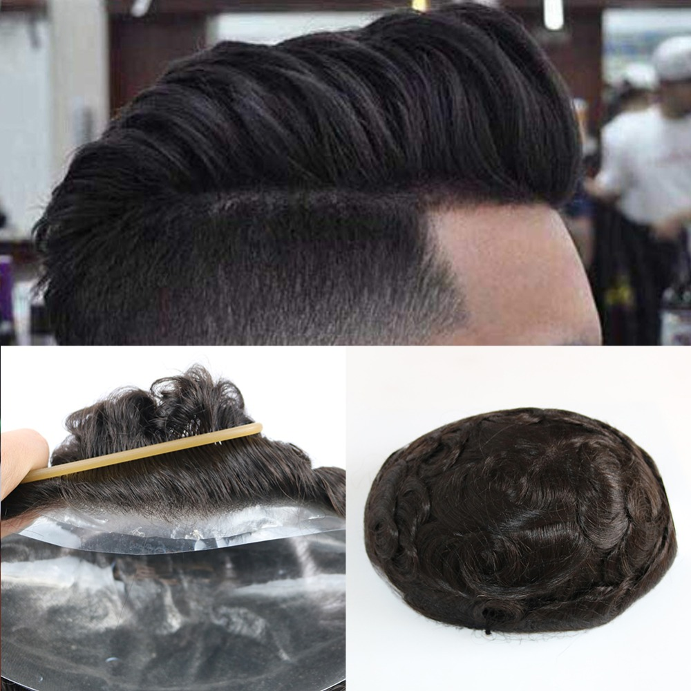 SimBeauty PU Skin Toupee For Men Brazilian Human Hair Pieces For Men With 10