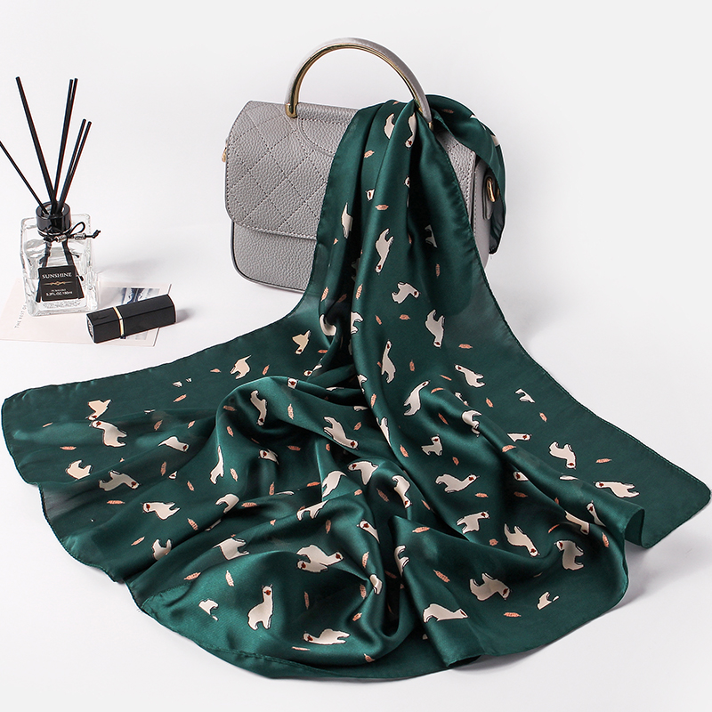 Fashion Women   Scarf   Luxury Brand Cute Print Hijab Pure Silk Shawl Scarfs Foulard Square Head   Scarves     Wraps   2017 NEW